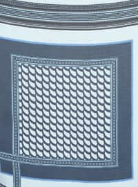 Blue - Navy Blue - Printed - Scarf