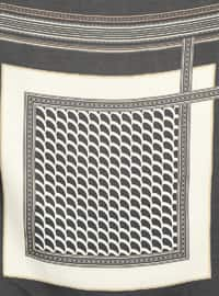 Black - Cream - Printed - Scarf