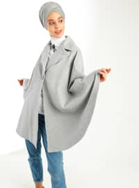 Gray - Shawl Collar - Unlined - Poncho