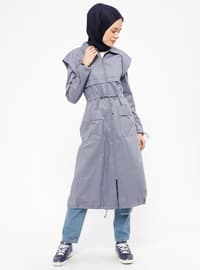 Gray - Unlined - Point Collar - Cotton - Trench Coat