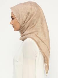 Gold - Printed - Silk Blend - Cotton - Scarf