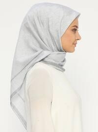 Gray - Silver tone - Printed - Scarf