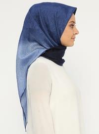 Navy Blue - Printed - Silk Blend - Cotton - Scarf