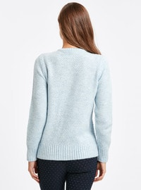 Blue - Crew neck - Jumper