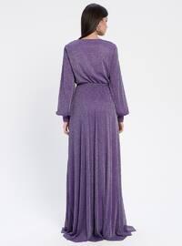 Purple - Fully Lined - V neck Collar - Muslim Evening Dress
