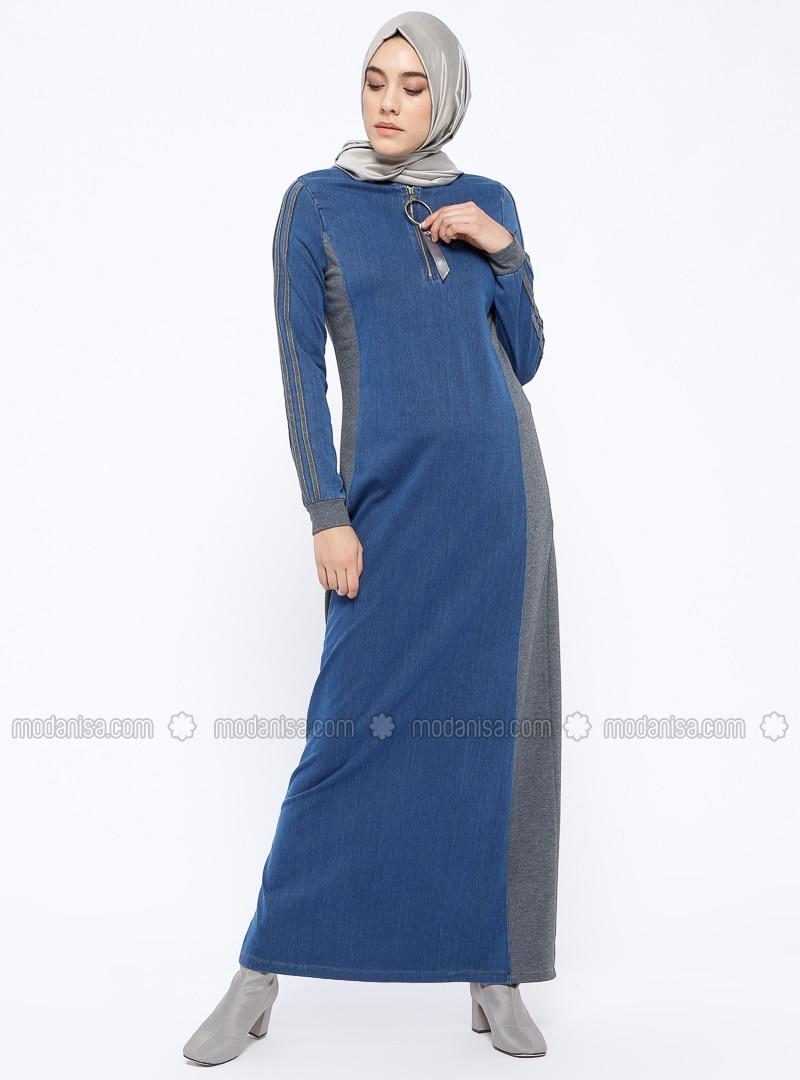 Blue - Navy Blue - Gray - Indigo - Crew neck - Unlined - Denim - Dresses