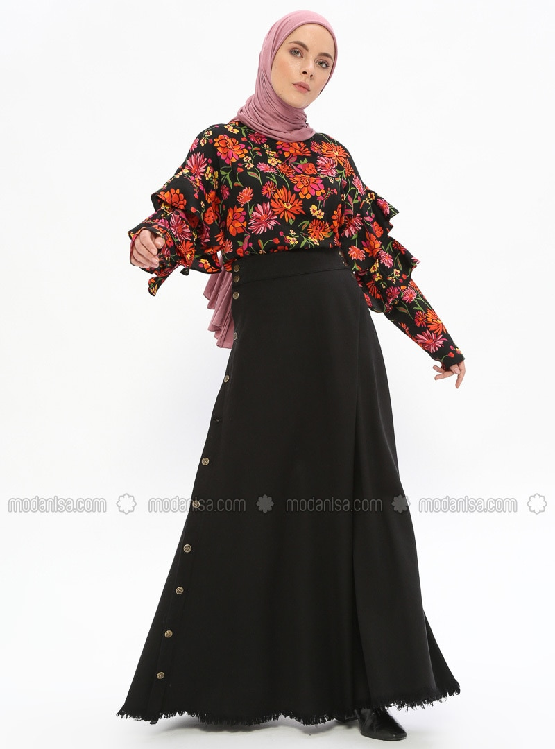 Black - Unlined - Cotton - Denim - Skirt