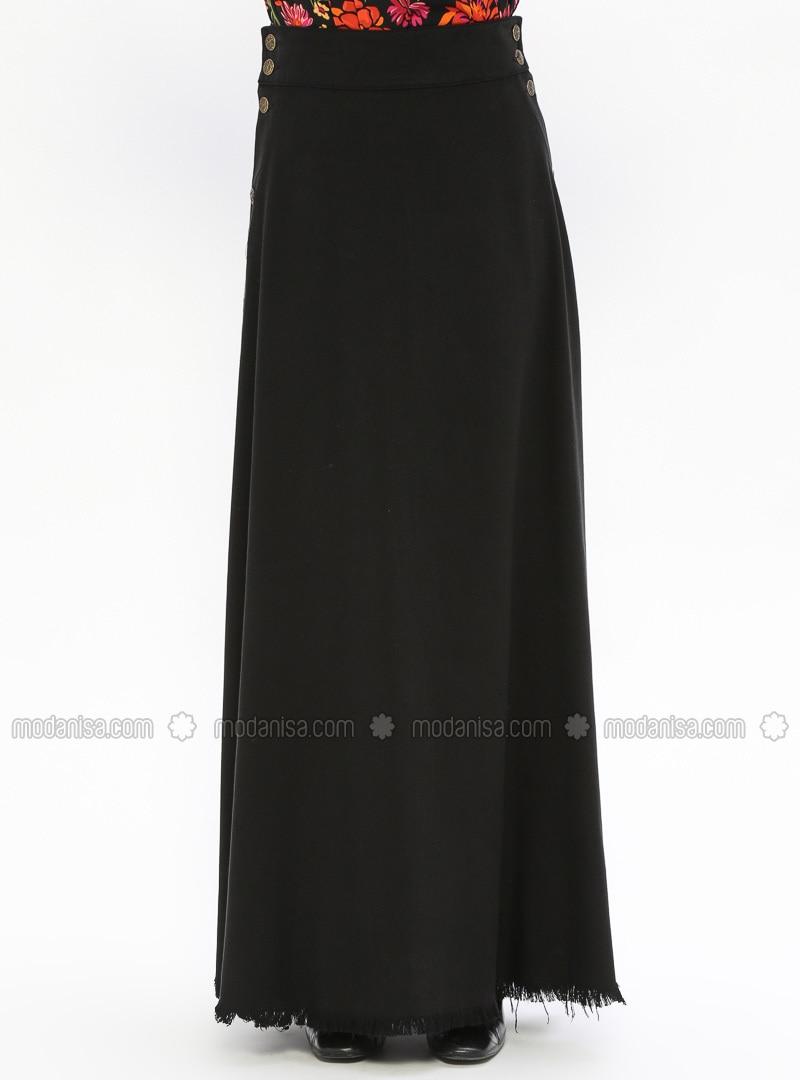 d9a20a5526 Black - Unlined - Cotton - Denim - Skirt