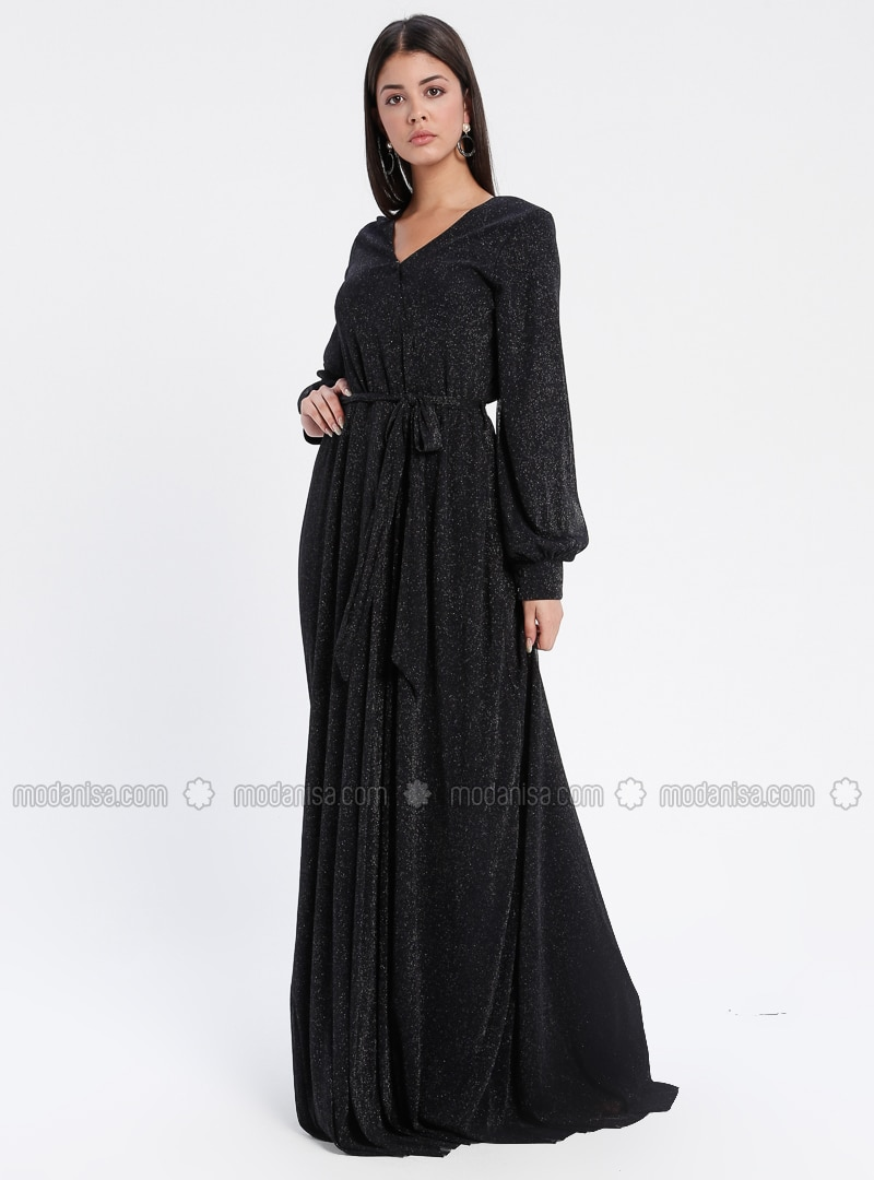 Navy Blue - Fully Lined - V neck Collar - Muslim Evening Dress