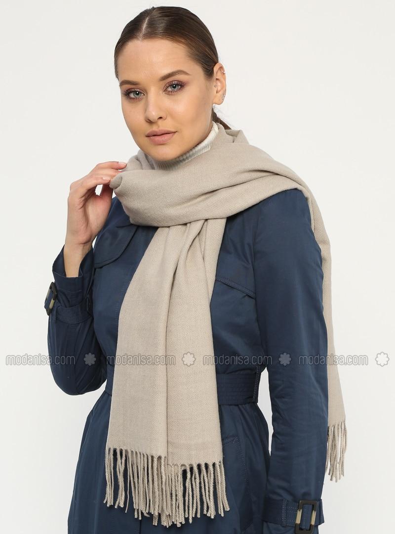 Minc - Plain - Fringe - Wool Blend - Acrylic - Shawl