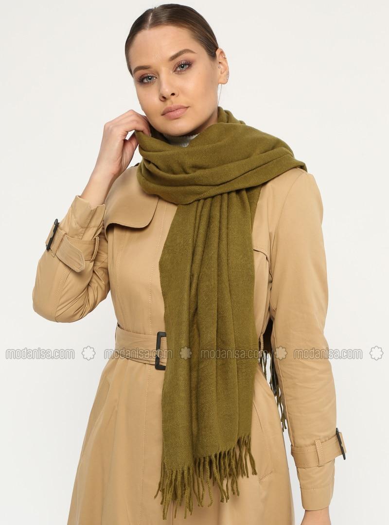 Khaki - Plain - Fringe - Wool Blend - Acrylic - Shawl