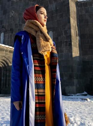 Navy Blue - Ethnic - Fully Lined - Shawl Collar - Coat