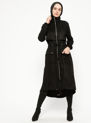 Black - Unlined - Polo neck - Topcoat