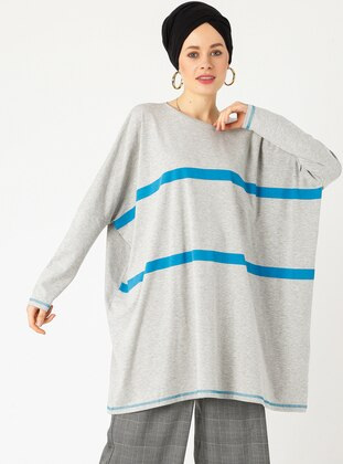 Gray - Stripe - Crew neck - Cotton - Tunic