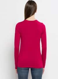 Fuchsia - V neck Collar - Jumper