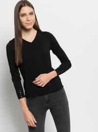 Black - V neck Collar - Jumper