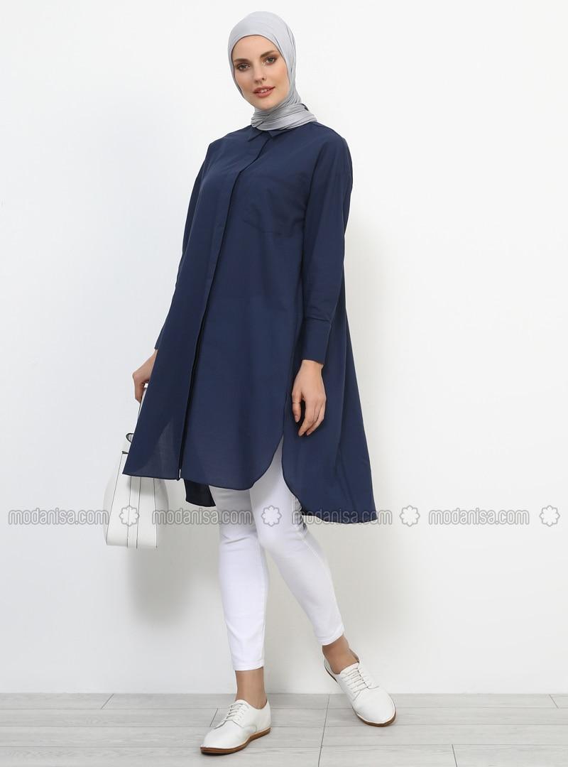 Navy Blue - Point Collar - Tunic