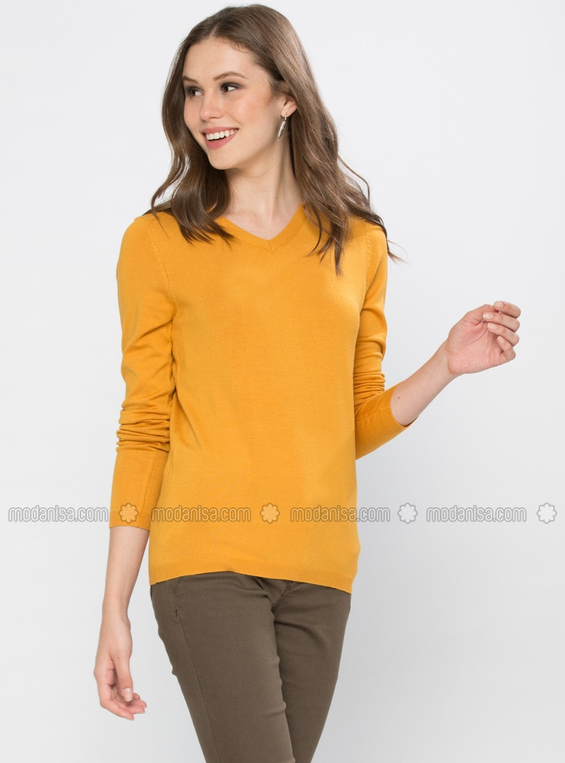 Yellow - V neck Collar - Jumper
