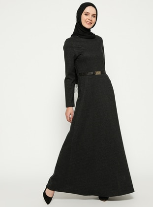 Black – Stripe – Crew Neck – Unlined – Dresses – Zenane