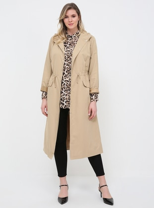 Beige - Fully Lined - Polo neck - Plus Size Trench coat