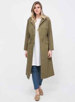 Khaki - Fully Lined - Polo neck - Plus Size Trench coat - Alia