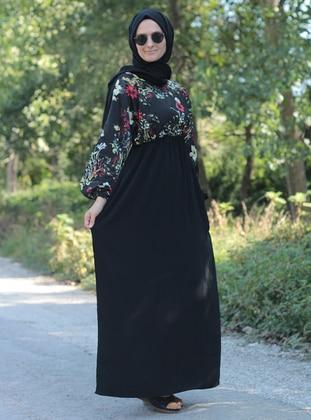 Black - Floral - Crew neck - Unlined - Dresses