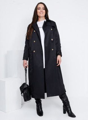 Black - Fully Lined - Point Collar - Plus Size Trench coat - Alia