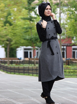 Gray - Unlined - Point Collar - Vest