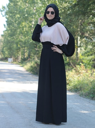 Black - Powder - Crew neck - Unlined - Dresses