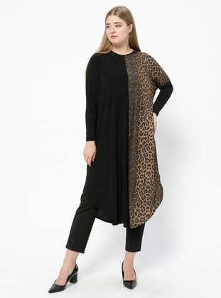 Black - Brown - Leopard - Crew neck - Plus Size Tunic