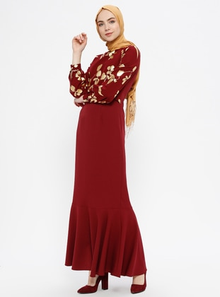 Maroon - Gold - Unlined - Crew neck - Muslim Evening Dress