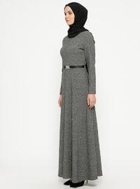 Gray - Stripe - Crew neck - Unlined - Dresses - ZENANE