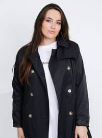 Black - Fully Lined - Point Collar - Plus Size Trench coat