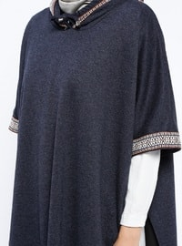 Navy Blue - Unlined - Poncho - ZENANE