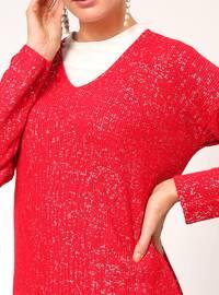 Red - V neck Collar -  - Tunic