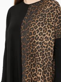Black - Brown - Leopard - Crew neck - Plus Size Tunic