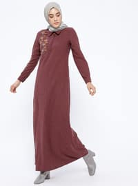 Maroon - Point Collar - Unlined - Dresses