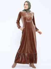Tan - Crew neck - Unlined - Dresses