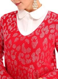 Red - Leopard - V neck Collar - Acrylic -  - Tunic