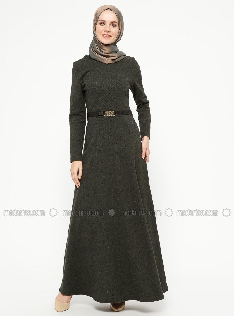 Khaki - Stripe - Crew neck - Unlined - Dresses - ZENANE