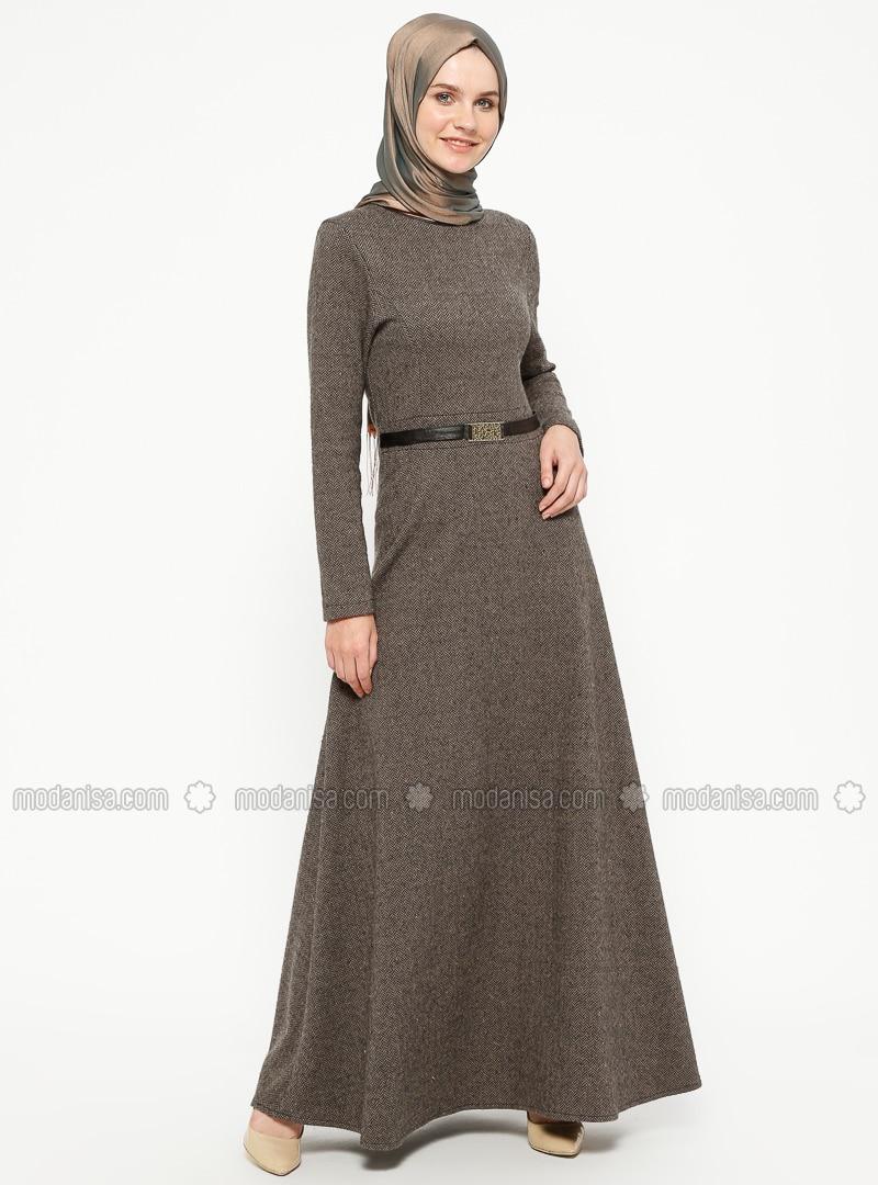 Brown - Stripe - Crew neck - Unlined - Dresses - ZENANE