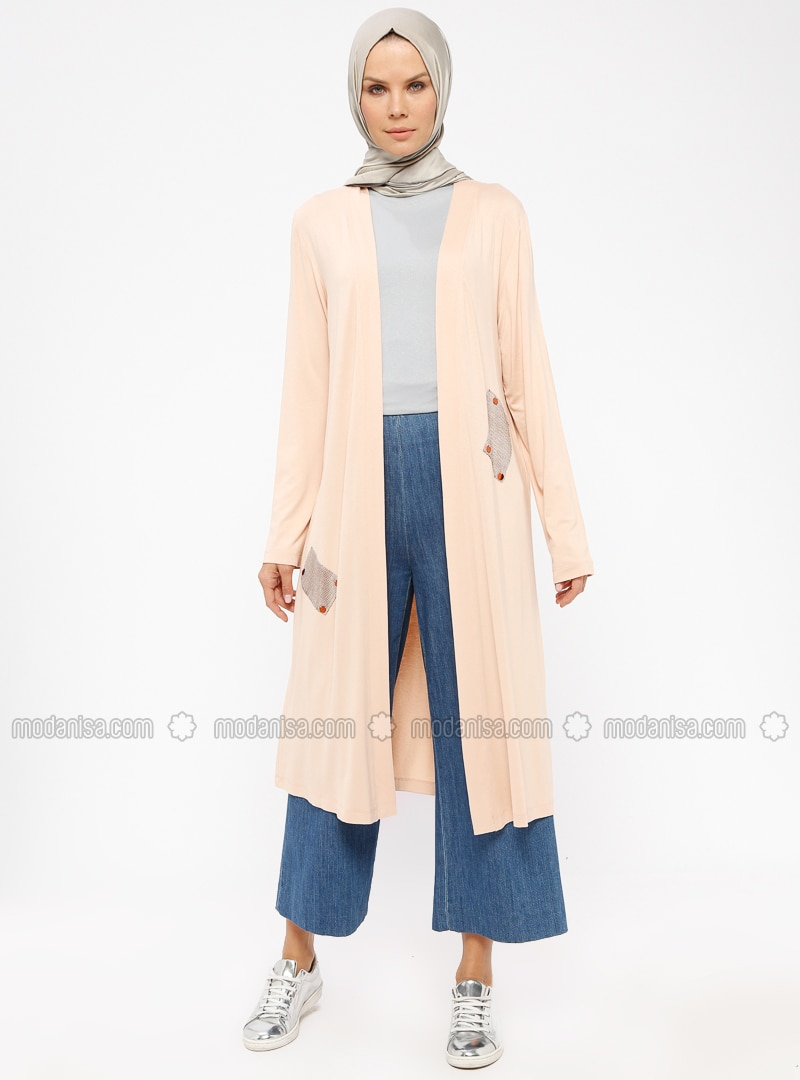 Salmon - Viscose - Cardigan
