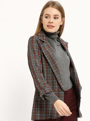 Mustard - Plaid - Unlined - Shawl Collar - Jacket