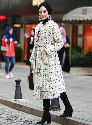 Ecru - Multi - Fully Lined - Shawl Collar - Cotton - Acrylic - Coat