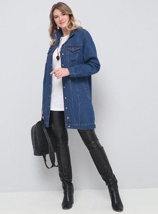 Navy Blue - Point Collar - Unlined - Cotton - Denim - Plus Size Jacket