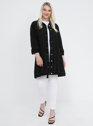 Black - Point Collar - Unlined - Cotton - Denim - Plus Size Jacket