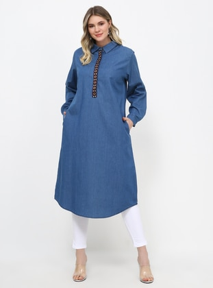 Blue - Point Collar - Cotton - Denim - Plus Size Tunic - Alia
