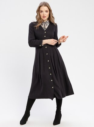 Black - V neck Collar - Unlined - Dresses
