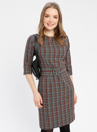 Mustard - Plaid - Boat neck - Unlined - Dresses