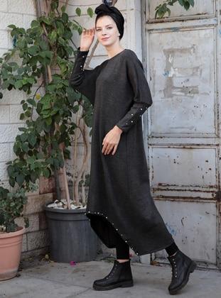 Anthracite – Crew Neck – Tunic – Selma Sari Design